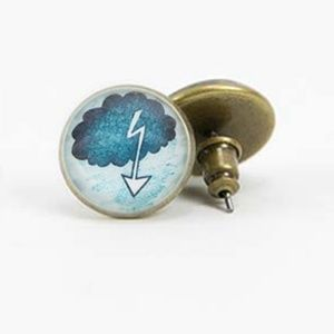 NWT Beijo Brasil Glass Dome Post Earrings Blue